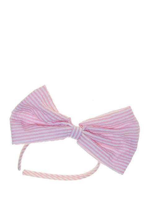Crown & Ivy™ Girls Seersucker Stripe Bow Headband