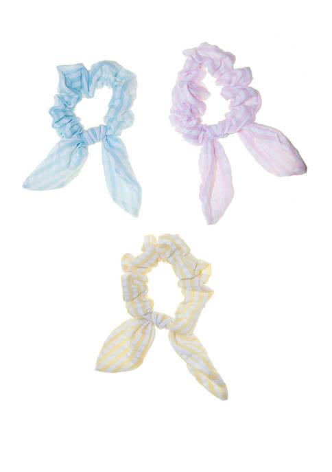 Crown & Ivy™ Girls Seersucker Bow Scrunchies