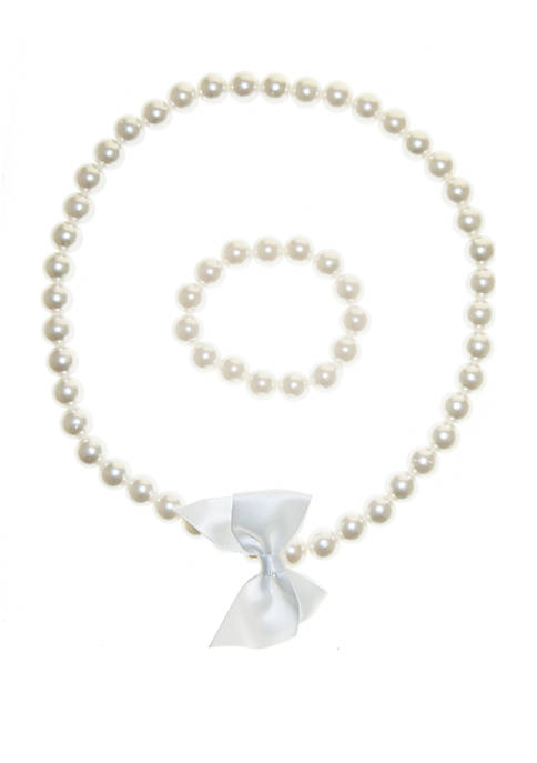 Crown & Ivy™ Girls Pearl Necklace and Bracelet
