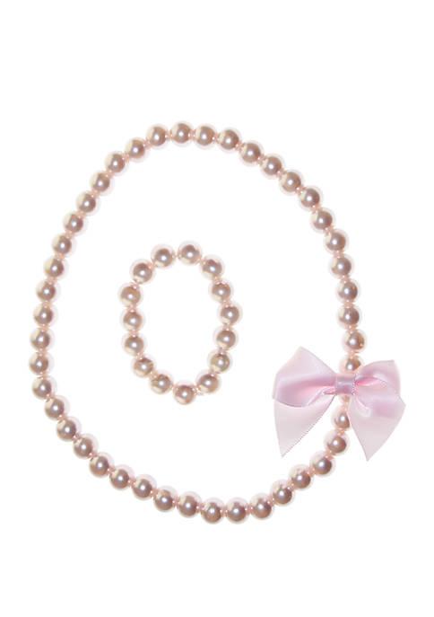 Girls Pearl Necklace and Bracelet Set