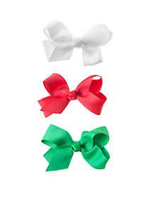 Solid Christmas Bow Set