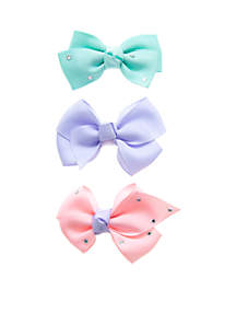 Solid Pink Blue Purple Bow Set
