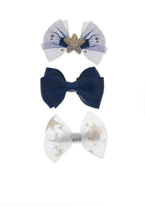 Lightning Bug Toddler Girls 3-Piece Space Bow Clip