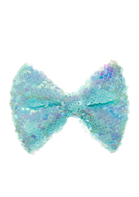 Lightning Bug Reverse Sequin Aqua Bow