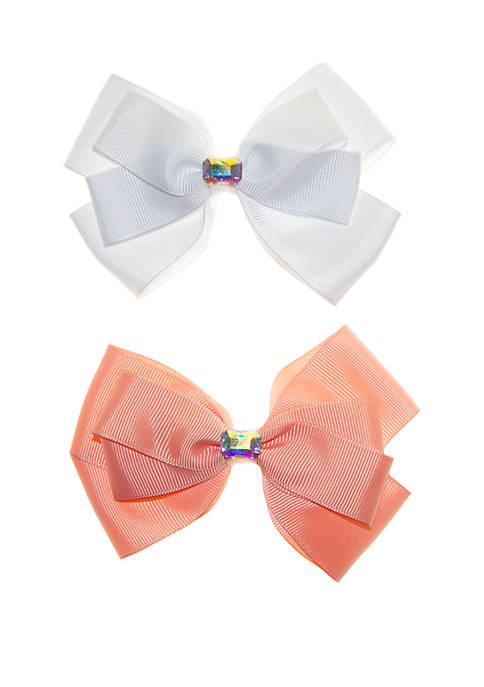 Girls Bows with Center Stone Set