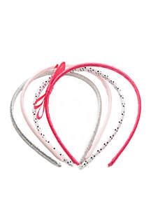 Girls 4-10 Stripe Glitter and Bow Headband Set