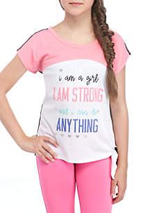 Girls 7-16 Short Sleeve Colorblock Side Tie Tee