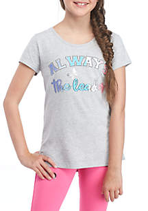 Girls 7-16 Short Sleeve Cross Back Graphic Tee