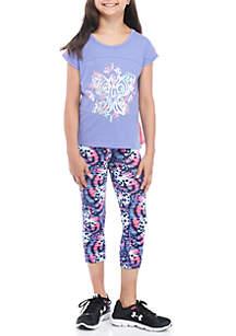 Girls Short Sleeve Lilac Butterfly Multi Legging Set
