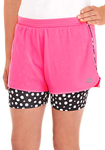 Girls 7-16 Pink Mesh Dot 2Fer Shorts