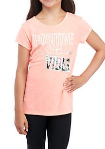 Girls 7-16 Short Sleeve Peach Vibes Mesh Back Tee