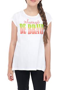 Girls 7-16 Be Brave Mesh Back Tee