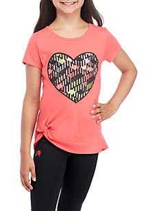 Girls 7-16 Short Sleeve Coral Heart Twist Tee