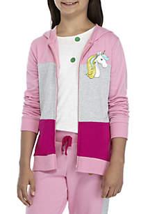 Girls 7-16 Pink Unicorn Colorblock Zip Up Hoodie