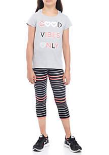 Girls 7-16 Short Sleeve Good Vibes Legging Set