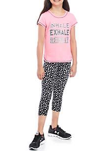 Girls 7-16 Short Sleeve Pink Tee Dot Legging Set
