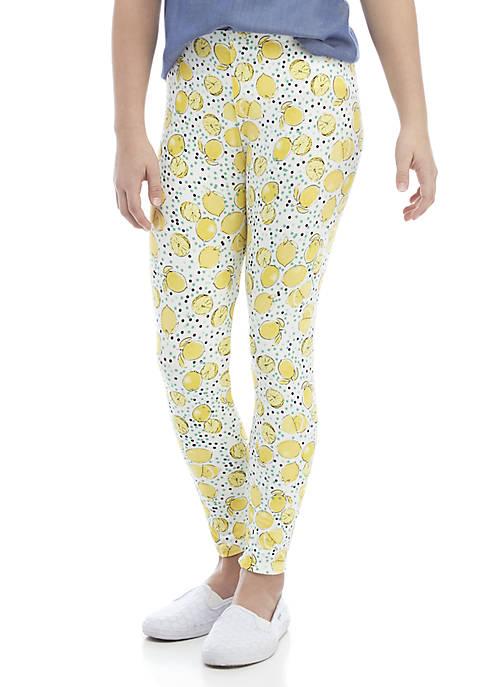 Crown & Ivy™ Girls 7-16 Lemon Print Leggings