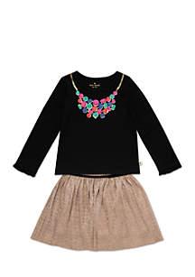 Girls 2-6x Metallic Knit Skirt Set