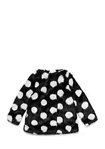Girls 2-6x Polka Dot Faux Fur Coat