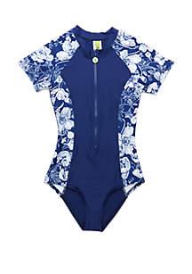 Next Girls Girls 7-16 Zen Garden Zip Front Short Sleeve Malibu One Piece Swimsuit