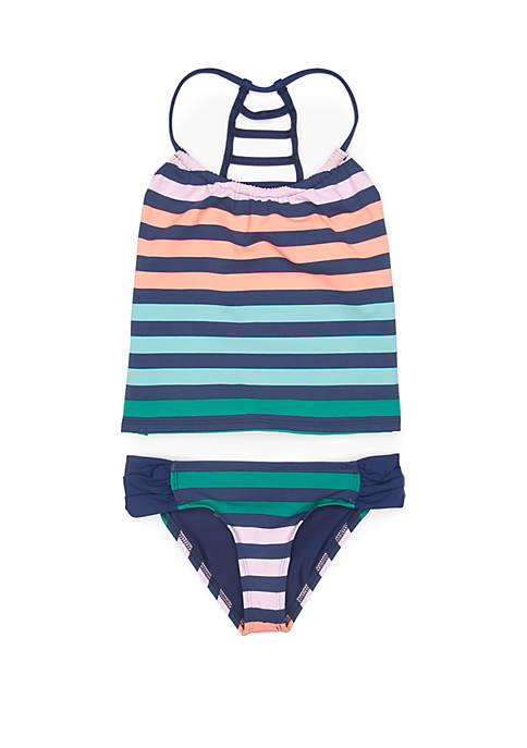 Girls 7-16 Stripe Impact Third Eye Ladder Back Tankini Top and Chopra Bikini Bottom Swim Set