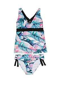 Next Girls Girls 7-16 Summer Shade Halter Tankini Top & Tubular Bikini Bottom