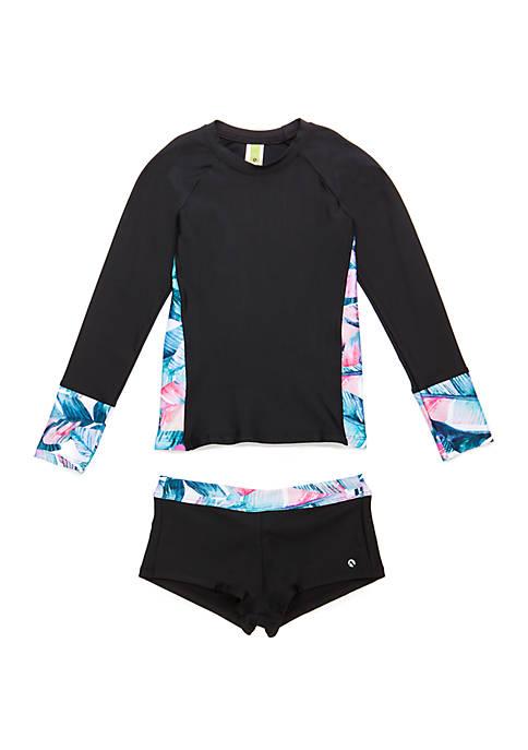 Girls 7-16 Summer Shade Long Sleeve Rash Guard and Jump Start Short Set