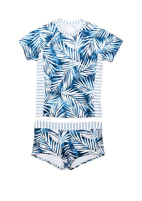 Splendid Big Girls Rashguard and Swim Short Swimsuit Set