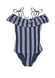 Splendid Girls Girls 7-16 Long Lines Ruffle One Piece Swimsuit