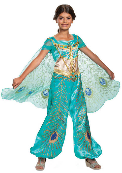 Disguise Girls 7-16 Aladdin: Jasmine Teal Deluxe Costume