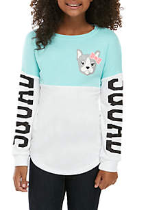 CHANCE OR FATE Girls 7-16 Long Sleeve Frenchie Color Block Sweeper Top