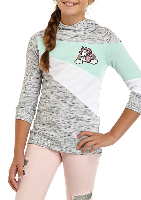 Miss Chievous Girls 7-16 Unicorn Patch Heather Hoodie