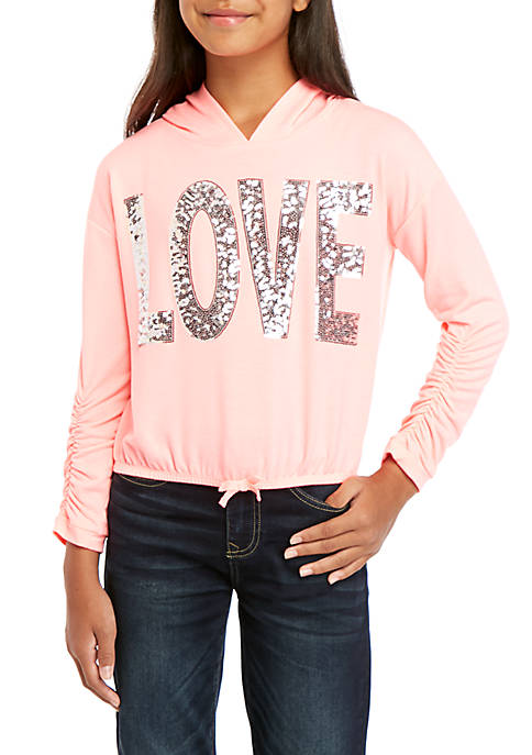 CHANCE OR FATE Girls 7-16 Long Sleeve Sequin