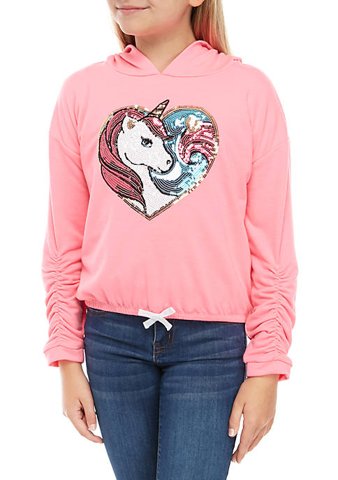 Girls 7-16 Long Sleeve Sequin Unicorn Tie Front Hoodie