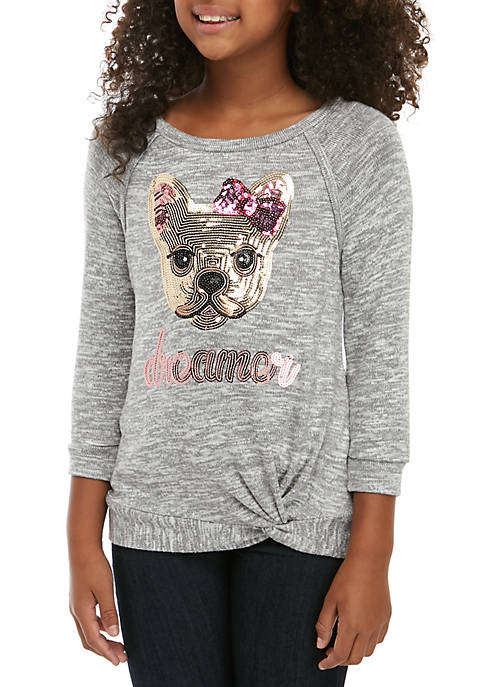 Girls 7-16 Long Sleeve Hacci Knit Sequin Frenchie Top