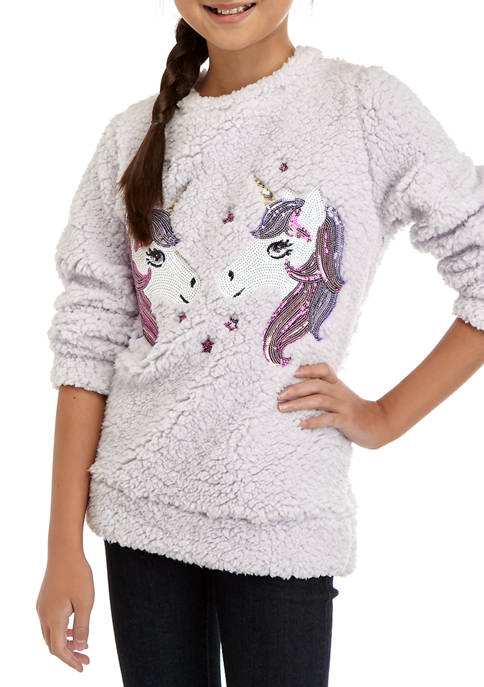 CHANCE OR FATE Girls 7-16 Unicorn Sherpa Pullover
