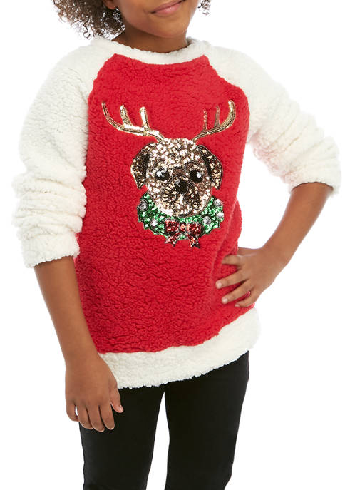 Miss Chievous Girls 7-16 Reindeer Pug Holiday Sweater