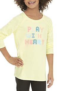 ZELOS Girls 7-16 Long Sleeve Play with Heart Tee