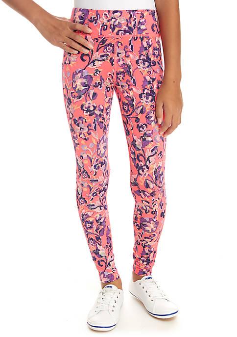 ZELOS Girls 7-16 Pink Print Leggings