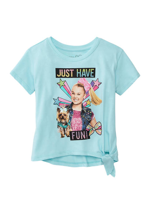 Girls 4-6x Short Sleeve Side Tie Graphic Fashion Top