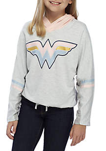 Girls 7-16 French Terry Wonder Woman Hooded Sweater