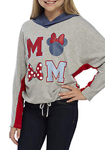 Girls 7-16 French Terry Minnie Bows Hooded Sweater