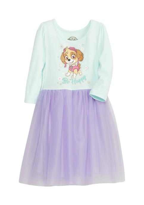 Girls 4-6x Long Sleeve Dress with Mesh Skirts