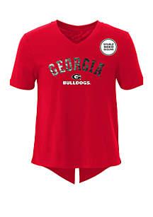Gen2 Girls 7-16 Georgia Bulldogs Short Sleeve V Neck T Shirt