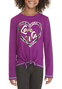 Girls 7-16 Long Sleeve Tie Front Love Wins Heart Tee