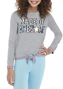 Girls 7-16 Long Sleeve Tie Front Made of Awesome Tee