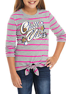 Girls 7-16 Long Sleeve Chill Vibes Stripe Top