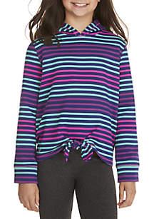 Girls 7-16 Multi Stripe Tie Front Hoodie