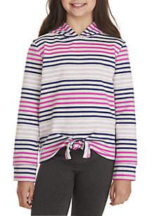 ZELOS Girls 7-16 Multi Stripe Tie Front Hoodie