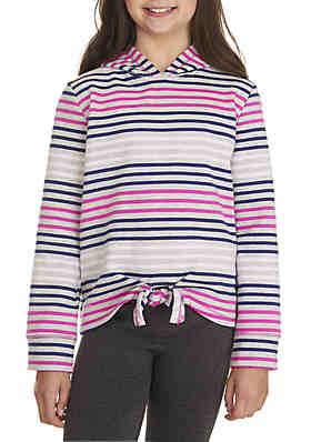 fd1615cf66575 ZELOS Girls 7-16 Multi Stripe Tie Front Hoodie ...